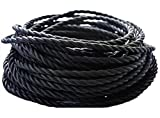 25 feet Black Twisted Cloth Covered Wire,3-Conductor 18-Gauge Antique Industrial Fabric Electrical Cord Cable,Vintage Style Lamp Cord strands UL listed