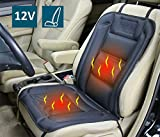 ObboMed SH-4160 12V Heated Car Seat Cover with Lumbar Support and Specially Secured Vertical/Horizontal Fitting, Deluxe Model with Premium Cigarette Lighter Plug; Black