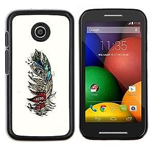 Caucho caso de Shell duro de la cubierta de accesorios de protecci¨®n BY RAYDREAMMM - Motorola Moto E - Las aves de plumas Resumen Dibujo Arte