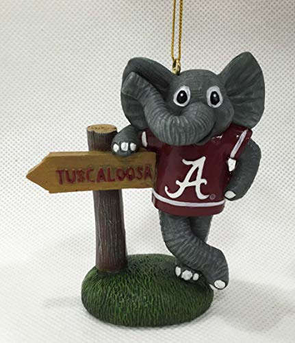 - Alabama Crimson Tide Big Al Mascot with Tuscaloosa Sign Christmas Ornament