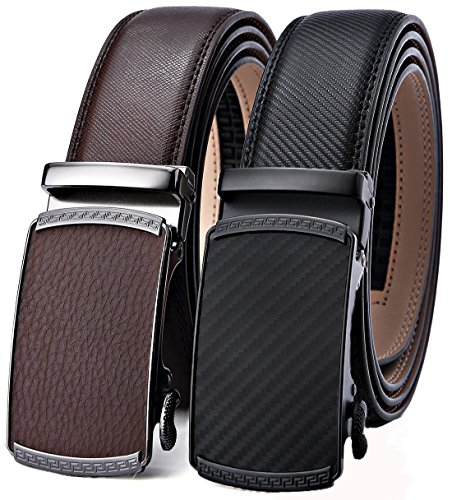 Mens Belt,Bulliant Leather Ratchet Click Belt for Men Father's Gift,Size Adjustable,2 Units - Tie Hermes Designer