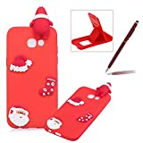 TPU Case for Samsung Galaxy A520 2017,Soft Rubber Cover for Samsung Galaxy A520 2017,Herzzer Ultra Slim Stylish 3D Christmas Santa Claus Series Design Scratch Resistant Shock Absorbing Flexible Silicone Back Case - Red