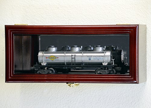 Single O Scale Train Engine Locomotive Cab Tanker Model Car Display Case Cabinet Holder Rack w/98% UV- Lockable with Mirror Back (Cherry - Car Mirror Scale Display