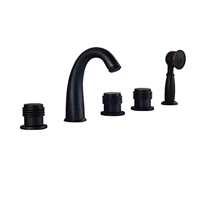 Rozin Widespread Deck Mount 5 Holes Bathtub Filler Faucet With