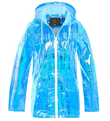 SS7 Womens Holographic Rain Mac Waterproof Raincoat Ladies Pink Jacket Size 8-16 Blue