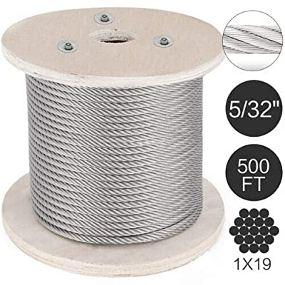 """VEVOR 316 Stainless Steel Cable 500ft Stainless Steel Wire Rope 5/32"""" 1x19 Steel Cable for Railing Decking DIY Balustrade (T316 5/32"""" 500ft)"""
