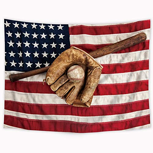 Wowzone Baseball Tapestry Sports American Flag Tapestry Stars and Stripes Tapestry Baseball League Equipment USA Fielding Red Retro Wall Hanging Decoration Bedroom Living Room 51x59Inch]()