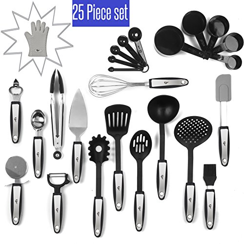 25 Piece Kitchen Tools Set Stainless Steel and Nylon Utensils Tongs, Spatula, Pizza Cutter, Bottle Opener, Brush, Spaghetti server, Soup ladle, Big Whisk,AND MORE buy it and GET Silicon Oven - Nylon Tool Kitchen