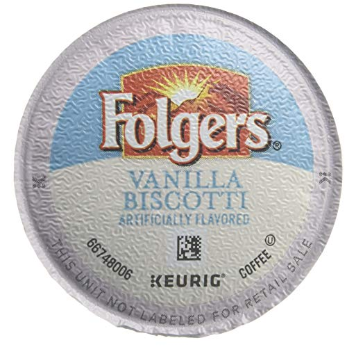 Folgers Vanilla Biscotti Flavored Coffee, K Cup Pods for Keurig K Cup Brewers, 18-Count (Pack of 4)
