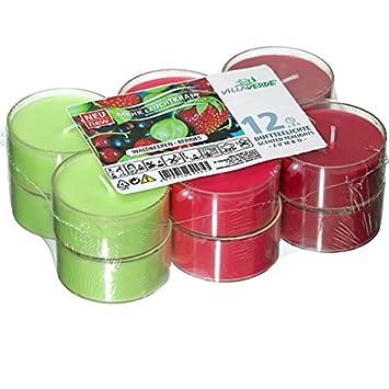 12er Set Villaverde Flatpack Jumbo Duft Teelicht Kerze transparente Hülle Deko, Variante:Vanille