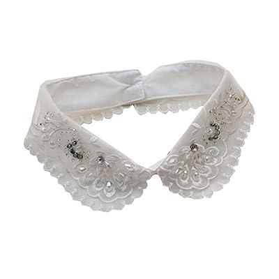 Femmes fausses moitié col chemise avec diamant perle détachable col chemisier - A4