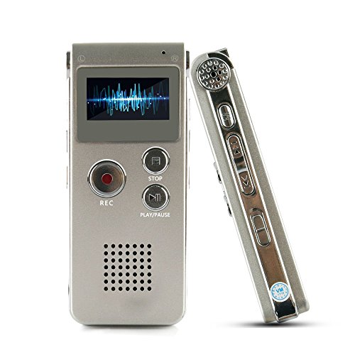 ROCSUN Digital Audio Voice Recorder /Multifunctional Rechargeable Dictaphone/MP3 Music Player-8GB (Silver-1)