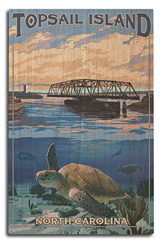 Lantern Press Topsail Island, North Carolina - Bridge View (10x15 Wood Wall Sign, Wall Decor Ready to -