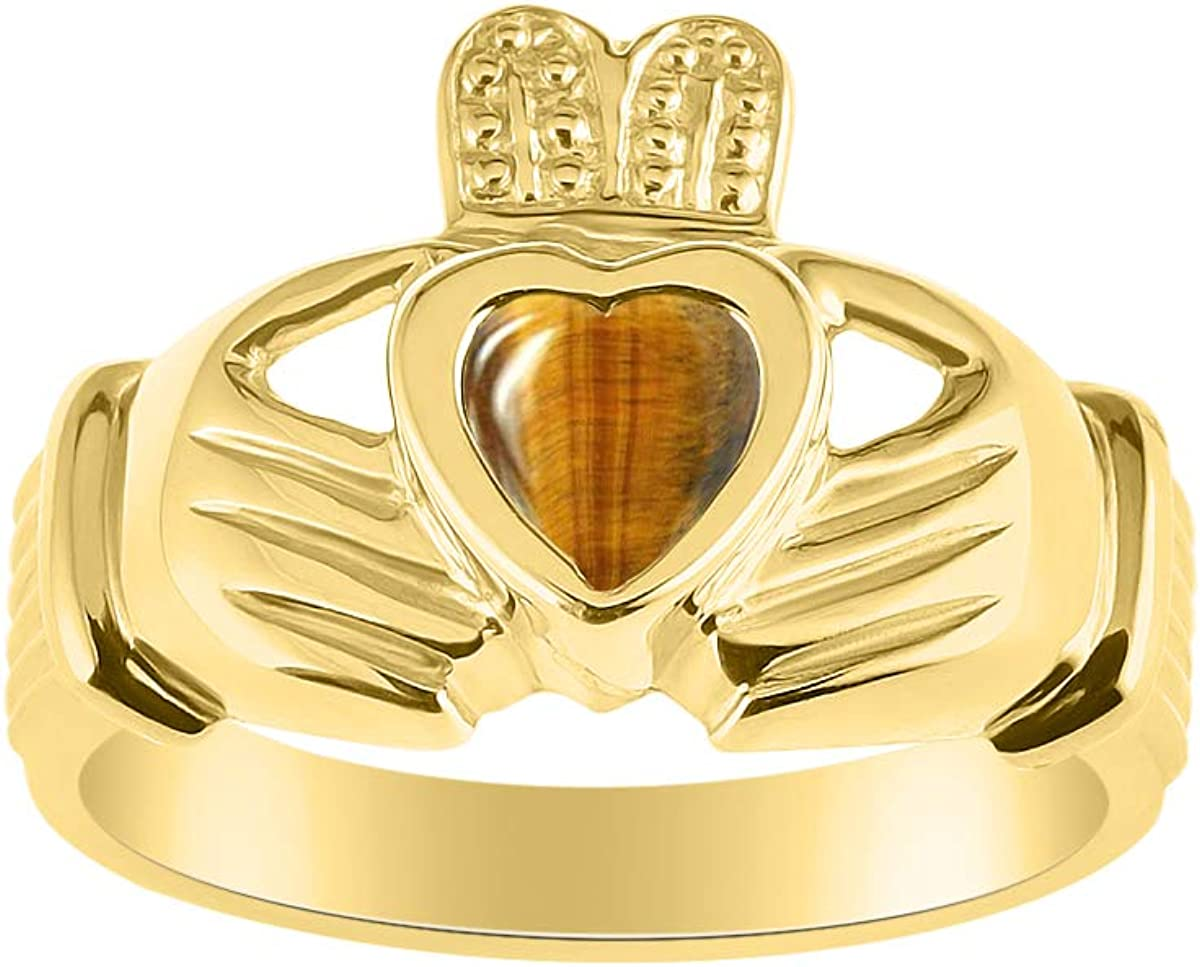 RYLOS CLADDAGH Claddah Love, lealtad y amistad anillo con piedra de corazón en oro amarillo de 14 quilates – 6 mm de color – Alianzas de boda irlandesas
