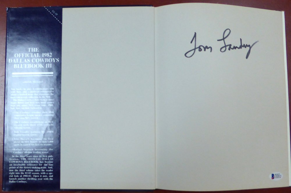 Tom Landry Signed 1982 Dallas Cowboys Blue Book III Beckett Authentication