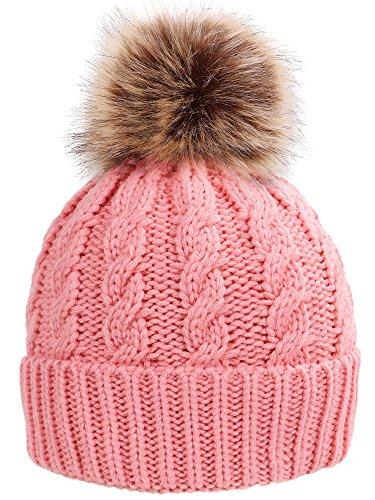 Simplicity Winter Hat Hand Knit Faux Fur Pompoms Beanie for Women ()