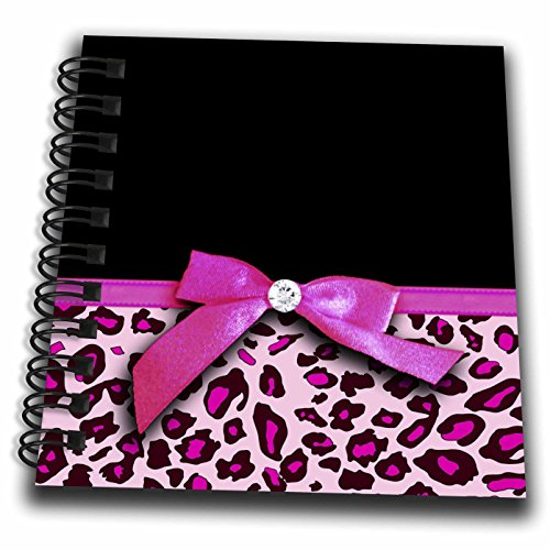 Pink Ribbon Spiral Notebook - 3dRose db_120206_3 Hot Pink Leopard Animal Print with Glamorous Faux Ribbon Bow Girly Glam Graphic Stylish Black Mini Notepad, 4 by 4