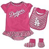 MLB Los Angeles Dodgers Infant Girls Bib & Booty Set, 24 Months, Poster Pink