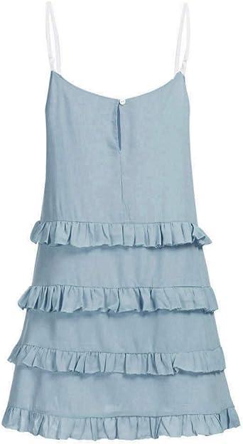 JUTOO damska letnia sukienka casual naturalna O-Neck Soild Sleeveless Sling Ruffle sukienka Midi: Odzież