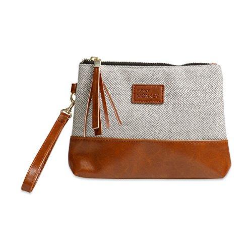 - Wristlet Wallet Clutch Bag {Greta-Medium} Phone Purse Handbag Gray White Herringbone Funky Monkey Fashion