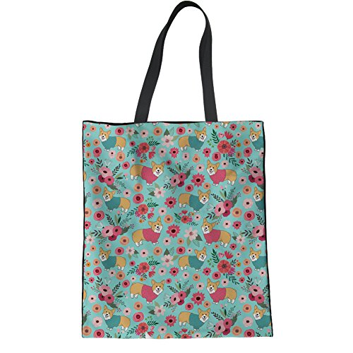 HUGS IDEA Boston Terrier Linen Tote Bag Ladies Hipster Shoulder Bag Beach Yoga Casual Handbags Corgi Flower
