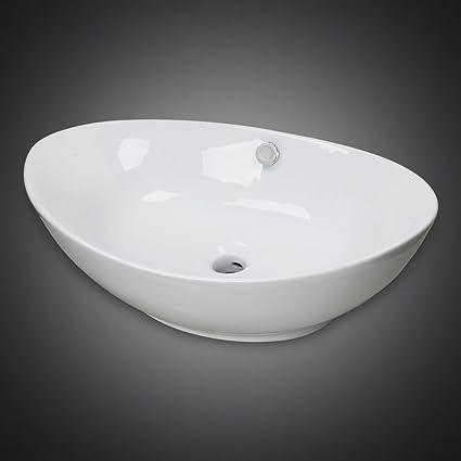 GotHobby Egg Design Ceramic Bathroom Faucet Vessel Vanity Sink Art Basin