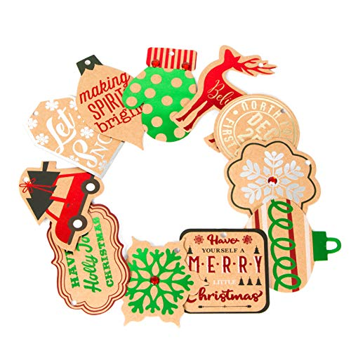 Christmas Gift Tags Kraft Paper, Pretied with String Ribbon Hot Stamp, for Holiday and Party Favors (Set of 72)