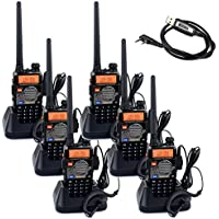 Retevis RT-5RV 2 Way Radio 5W FM Transceiver 128CH Dual Band VHF/UHF 136-174/400-520 MHz CTCSS/DCS Two Way Radio with Earpiece(6 Pack) and Programming Cable