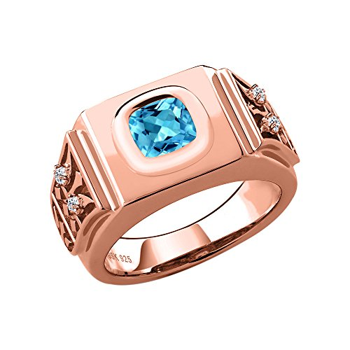 2.78 Ct Swiss Blue Topaz White Topaz 18K Rose Gold Plated Silver Men's Ring (Size (Topaz 18k Rose)