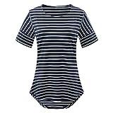 Chvity Junior's Patchwork Navy Striped Short Sleeve T Shirts (M, Navy Blue)