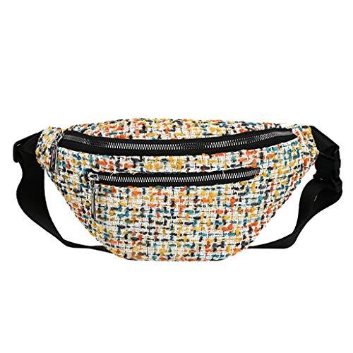 Women Fashion Shoulder Front Chest Bag,Crytech Ladies Multi Pocket Large Capacity Zipper Fanny Waist Pack Sack Linen Plaid Crossbody Sling Backpack Outdoor Elegant Messenger Bag (Yellow)