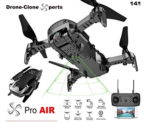 Drone-Clone Xperts- Drone X Pro AIR 1080P HD Dual Camera Quadcopter with 2pcs Batteries (BLACK)