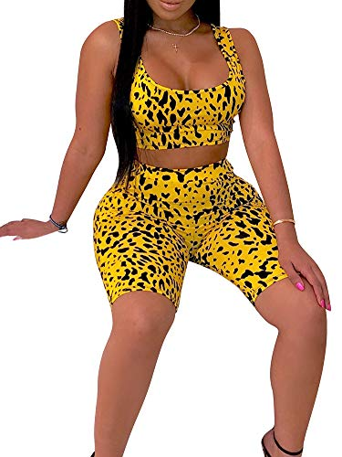 Womens Sexy Two Piece Sports Outfit Bodycon Pants Joggers Clubwear Tracksuit Sportswear Set Yellow ()