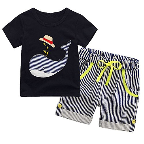 BAOBAOLAI Baby Boys Summer Outfits Whale Short Sleeved Shirt + Striped Shorts Pants Set, Whale-navy, 5-6 Years