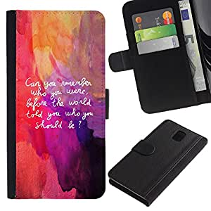 """Be-Star la tarjeta de Cr¨¦dito Slots PU Funda de cuero Monedero caso cubierta de piel Para Samsung Galaxy Note 3 III ( Cita Art Be Yourself Recuerde Vida Interior Auto"""" )"""