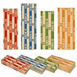 1000 Flat Standard Striped Coin Roll Wrappers for U.S. Coins -125 Each of Penny, Nickel, Dime and Quarter Wrappers Separated and Color Coded to ABA Standards