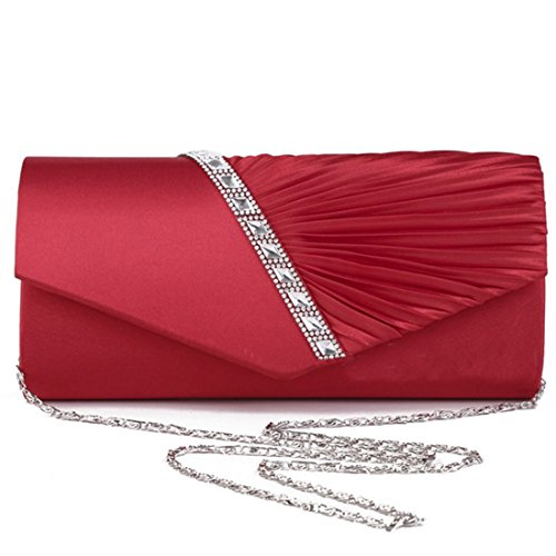 Clutch Handbag Studded Womens Silver Pleated Crystal Evening Satin EROUGE cW4Rnc