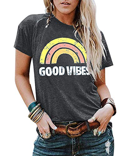 Pearl Jam Halloween (JINTING Good Vibes Graphic Tee Shirt for Women Teen Girls Graphic Short Sleeve Casual T Shirt Top with Funny Sayings)