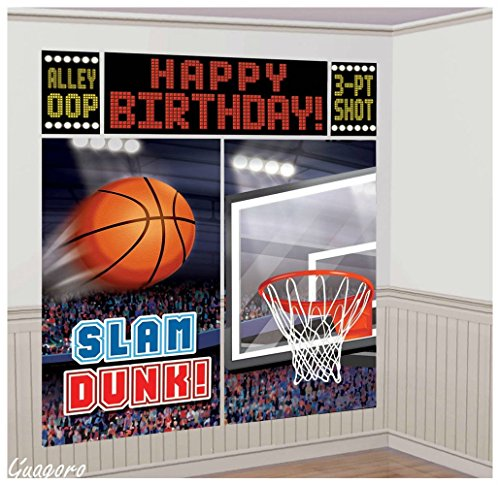 Basketball Giant Birthday Scene Setter Wall Banner Kit~Party Supplies (Anniversary Decorating Kit)