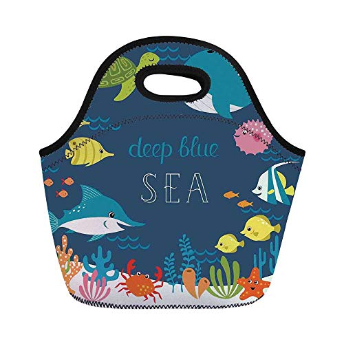 Cartoon Decor Durable Lunch Bag,Artsy Underwater Graphic with Algaes Coral Reefs Turtles Sword Fishes the Life Aquatic Motion for School Office,11.0