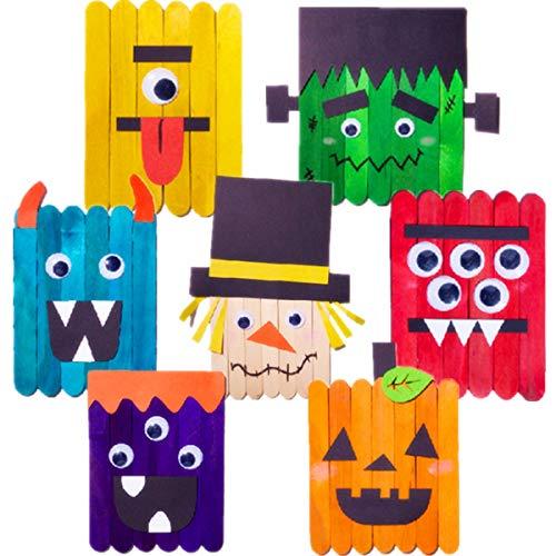 Halloween Children's Arts And Crafts (7 Pack Halloween Craft Kit Monster Art and Crafts for Kids DIY Supplies Assorted Pumpkins)