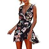Women Summer Dresses Elegant Dress Spaghetti Strap Floral for Work Casual Evening Party Boho Beach Mini Sundress (M, Black)