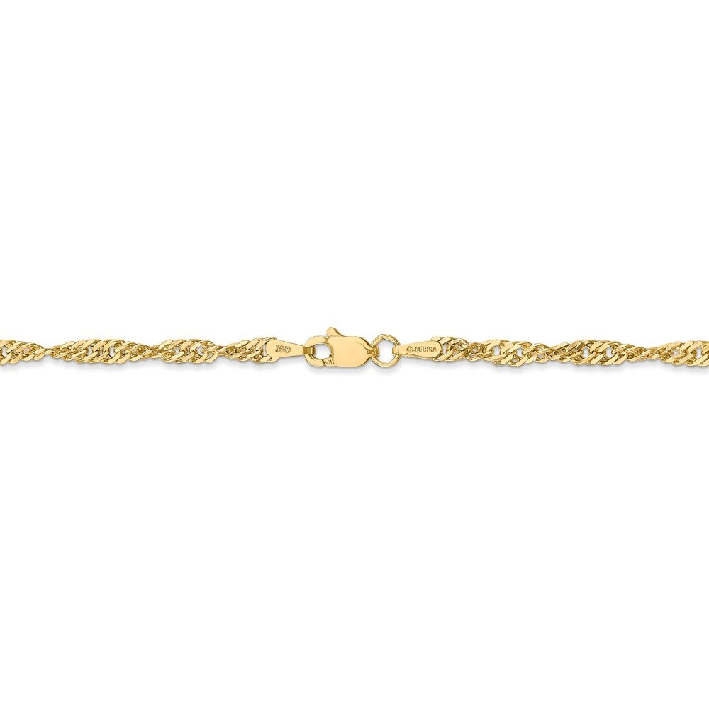 14k Yellow Gold 2.75 mm Lightweight Singapore Chain Anklet - 9 Inch