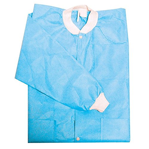 Primo Dental Products PC201SBM Lab Coats, Knee-Length, Medium, Sky Blue (Pack of 10) - Mens Knee Length Lab Coat