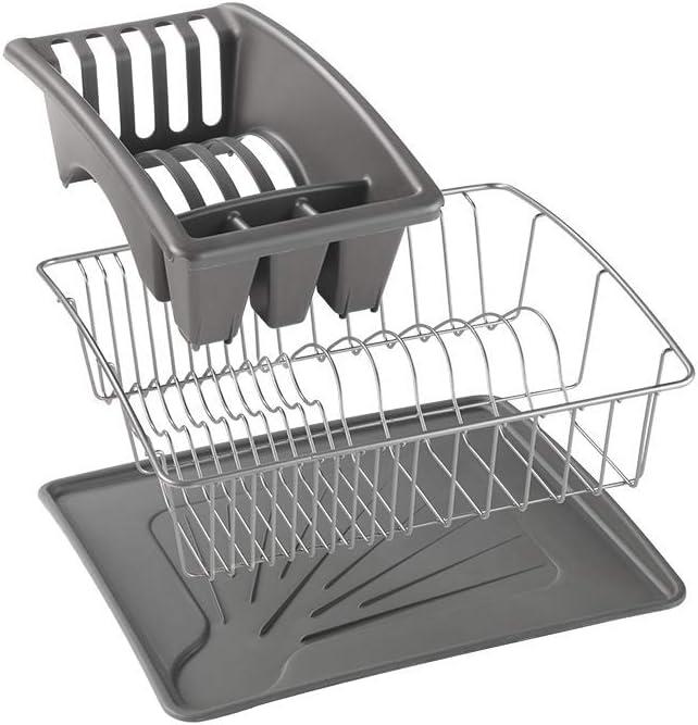 Metaltex 32502668 gouttoir vaisselle avec plateau 35 x 32 cm