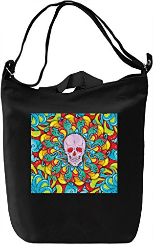 Colorful Skull Pattern Borsa Giornaliera Canvas Canvas Day Bag| 100% Premium Cotton Canvas| DTG Printing|