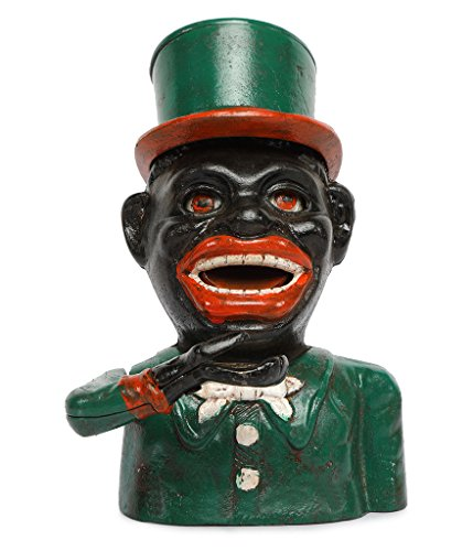 SafeDeals Antique / Vintage Style Cast Iron Mechanical Jolly Boy With Hat (Green) Money Box Money Bank Piggy Bank - Vintage Cast Iron Toy