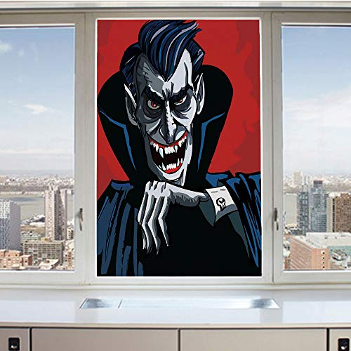 3D Decorative Privacy Window Films,Cartoon Cruel Old Man with Cape Sharp Teeth Evil Creepy Smile Halloween Theme,No-Glue Self Static Cling Glass film for Home Bedroom Bathroom Kitchen Office 17.5x36 I