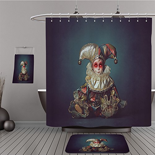 Uhoo Bathroom Suits & Shower Curtains Floor Mats And Bath Towels 316449128 Scary clown doll with demonic eyes . Horror and halloween For Bathroom
