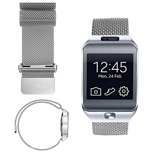 iWonow 22mm Bands Woven Mesh Loop Watch Band Stainless Steel Magnetic Bracelet Strap for Samsung Gear 2 R381 R382 R380, Samsung Galaxy Watch 46mm SM-R800, Gear S3 Classic/Frontier - Watch Chrome Frontier
